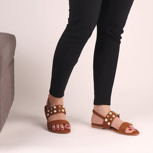 Foot Wear,Treasure Flap Suede Flats in Tan - Cippele Multi Store