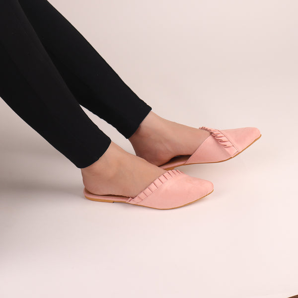 Foot Wear,The Suede Foliate Mule in Baby Pink - Cippele Multi Store