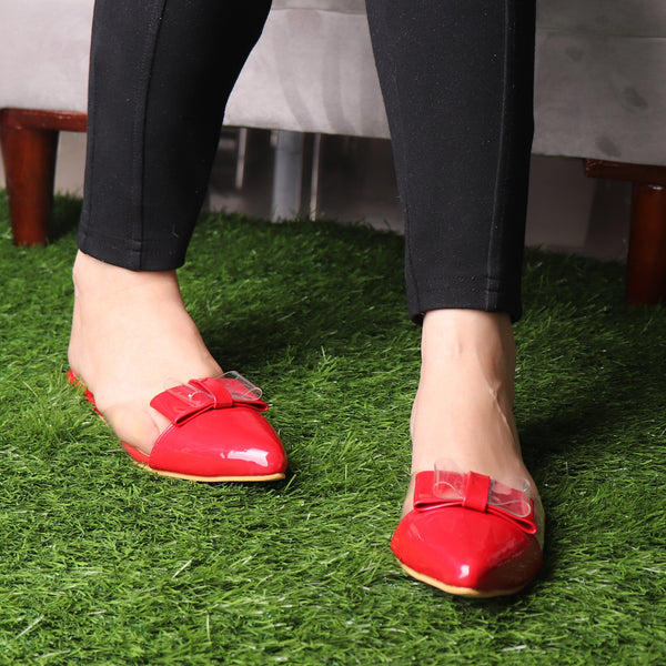 Foot Wear,The Finska Cookie Ribbon Mules in Red - Cippele Multi Store