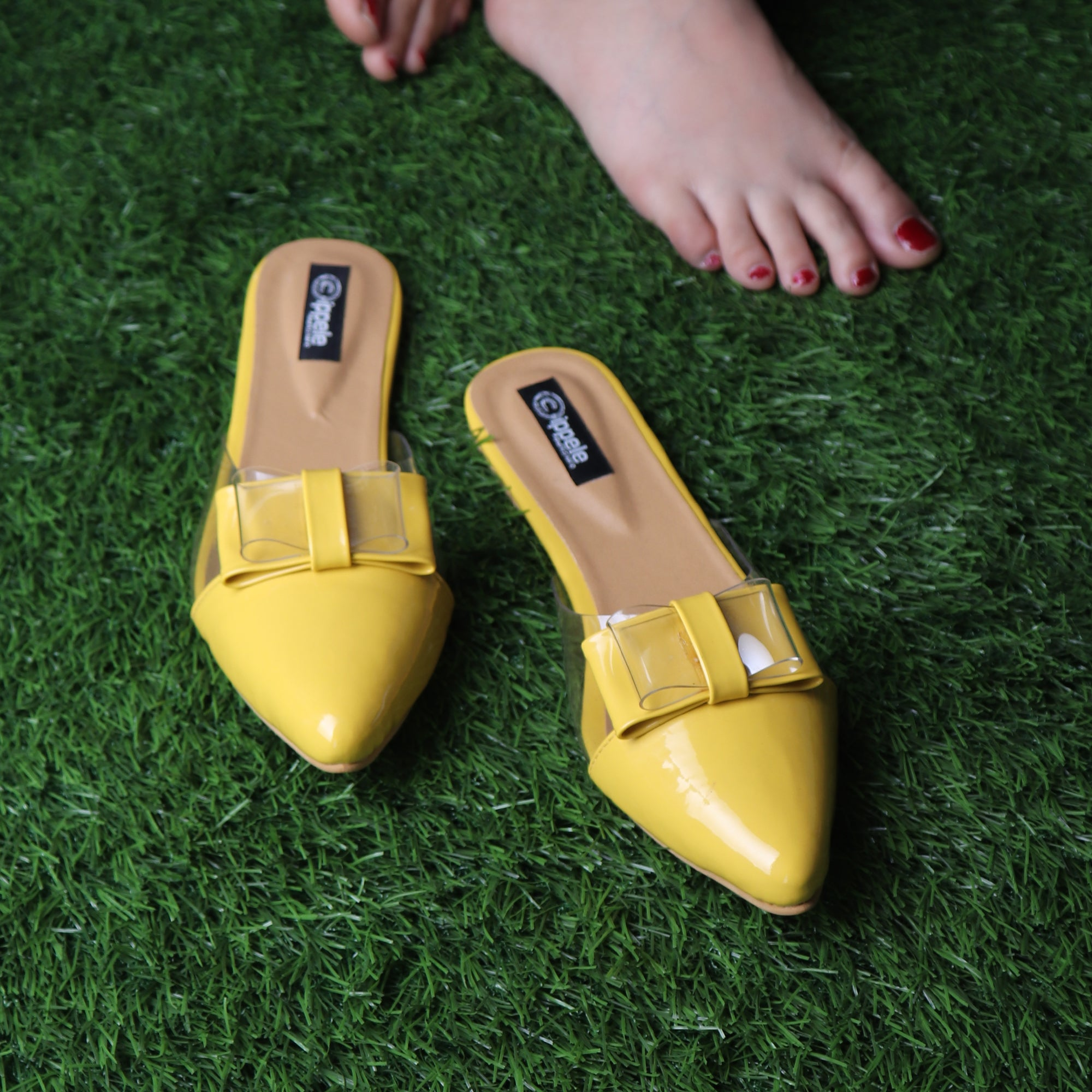 Foot Wear,The Finska Cookie Ribbon Mules in Yellow - Cippele Multi Store