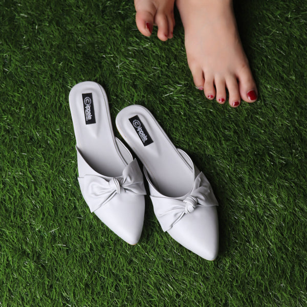 Foot Wear,The Charismatic Bow Mules in Grey - Cippele Multi Store
