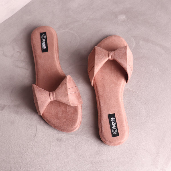 Foot Wear,The Bow Tie Suede Flats Rose Gold Pink - Cippele Multi Store