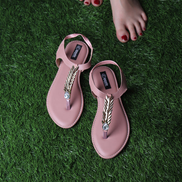 Foot Wear,The Palm Branch Flats in Pink - Cippele Multi Store