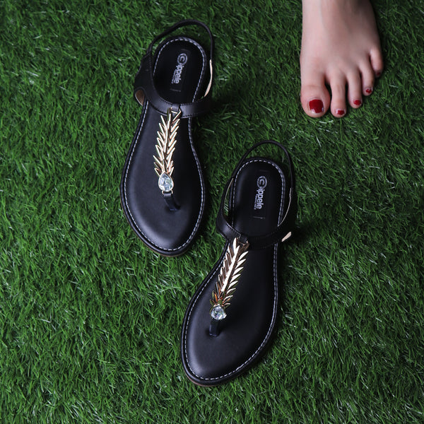 Foot Wear,The Palm Branch Flats in Black - Cippele Multi Store