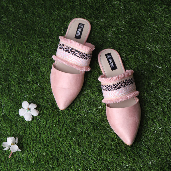The Embroided Scarf Mules in Baby Pink