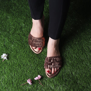 Foot Wear,The Tropical Flats in Brown - Cippele Multi Store