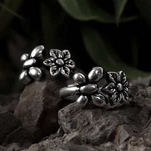 Floral Oxidized Silver Toe Rings (Set of 2)