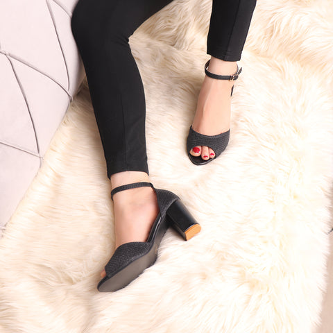 Foot Wear,The Gleamy Block Heel in Black - Cippele Multi Store