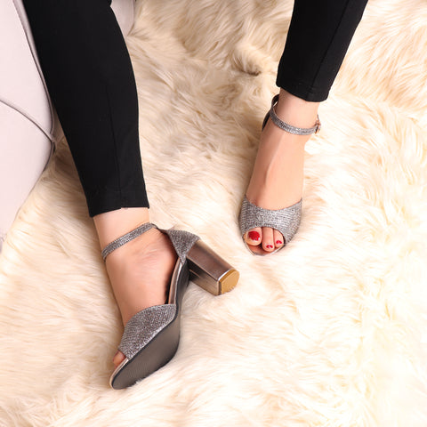 Foot Wear,The Gleamy Block Heel in Zinc - Cippele Multi Store