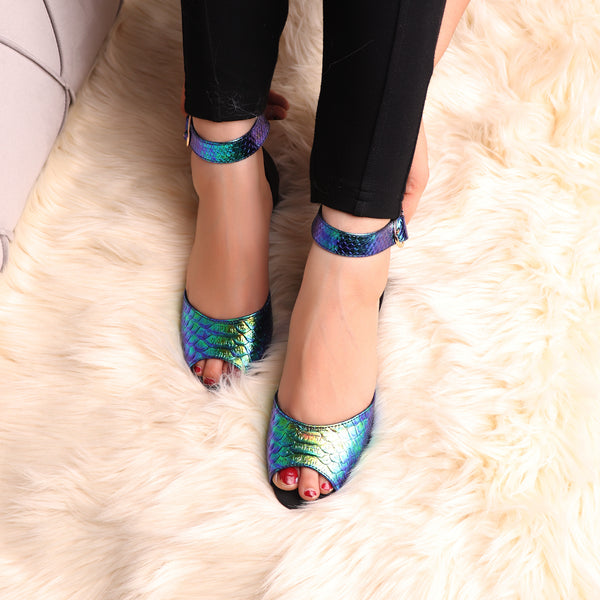 Foot Wear,The Single Flapped Color Essence Block Heel - Cippele Multi Store