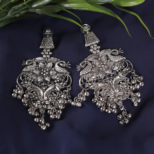 Oxidized Silver Floral Style Earrings