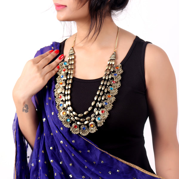 Necklace,Rajwada Necklace in Golden - Cippele Multi Store