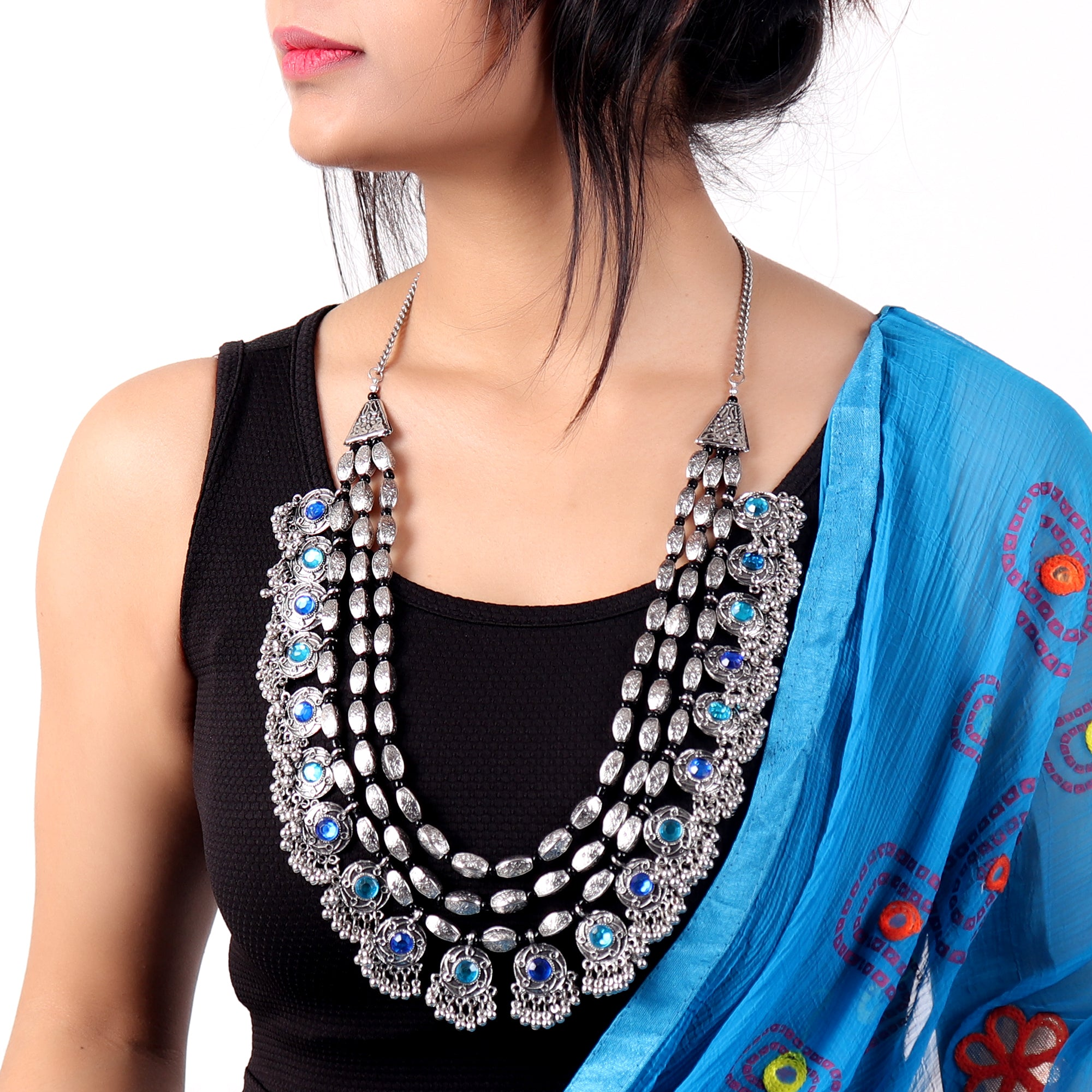 Necklace,Rajwada Necklace in Silver hue - Cippele Multi Store
