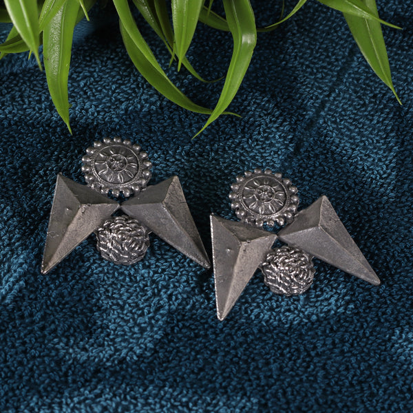Antique Silver Black Finish Geometrical Earrings