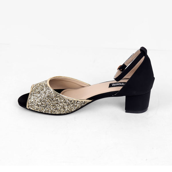 Foot Wear,Shimmery Peep Toe Block Heel - Cippele Multi Store