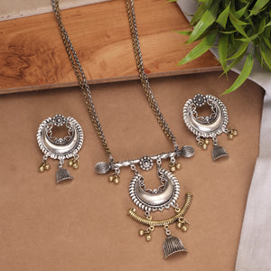 The Pristine Crescento Necklace Set in Dual Tone
