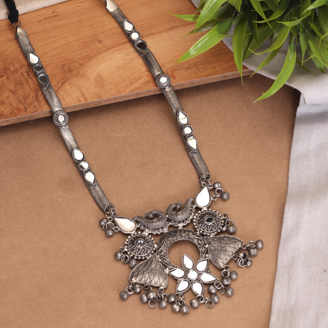 Antique Silver Black Finish Stellar Peacocky Necklace