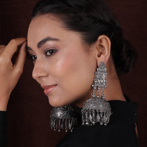 Antique Silver Black Finish Oversized Peacock Jhumkas