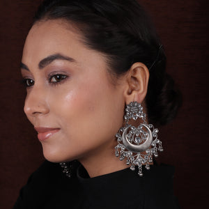 Antique Silver Black Finish Chaand Bali Earrings