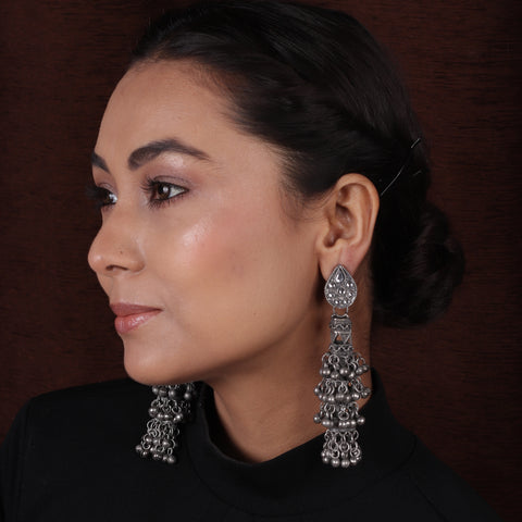 Antique Silver Black Finish Layered Ghungroo Earrings