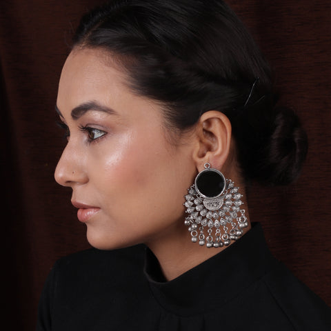 Oxidized Silver Mirror Chand Bali Earrings