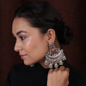 Oxidized Silver Traditional Chand Baali Earrings