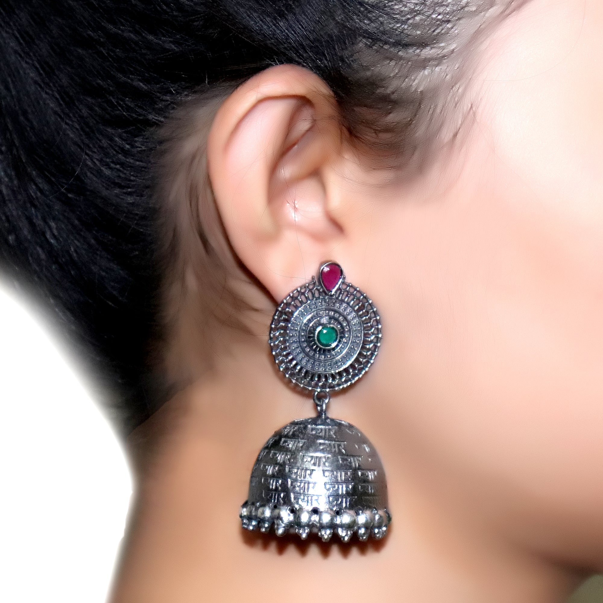 Earrings,Pyar All over German Silver Earrings - Cippele Multi Store