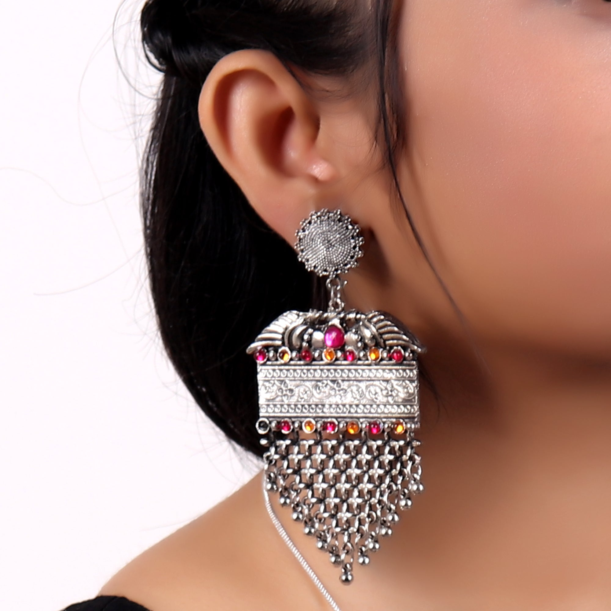 Earrings,Alluring Vintage Look earrings with Pink and Orange - Cippele Multi Store