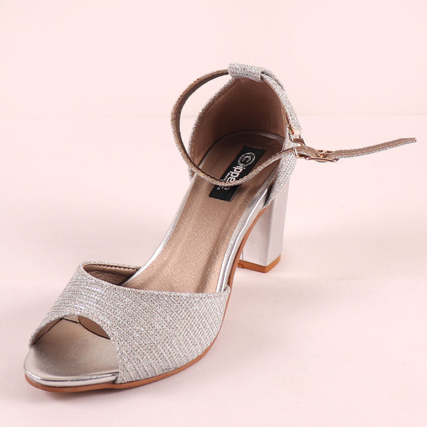 Foot Wear,The Gleamy Block Heel in Silver - Cippele Multi Store