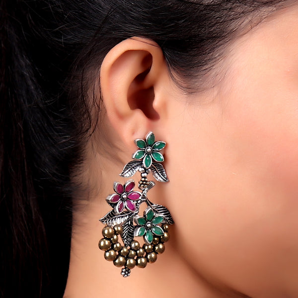 Earrings,Floral Statement Earrings in Green & Magenta - Cippele Multi Store