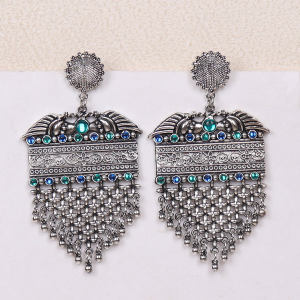 Earrings,Alluring Vintage Look earrings with blue and green Rhinestones - Cippele Multi Store