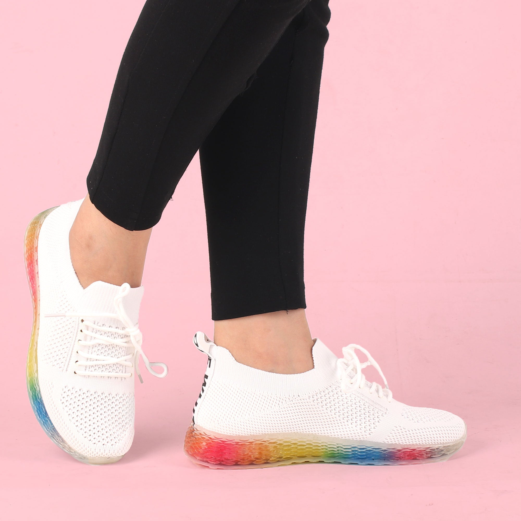 Foot Wear,The Rainbow White Gliders - Cippele Multi Store