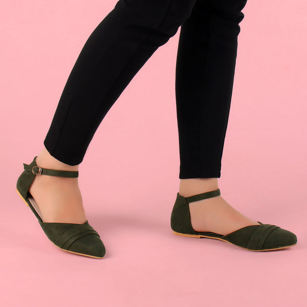 Foot Wear,The Graceful Suave Green Flats - Cippele Multi Store