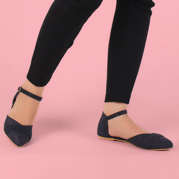 Foot Wear,The Graceful Suave Blue Flats - Cippele Multi Store