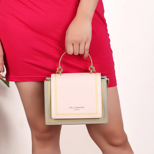 The Graceful Stitched Embroidery Sling Bag in Lighter Shade