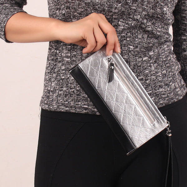 Wallet,Block Stitched Wallet in Silver - Cippele Multi Store