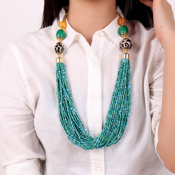 Necklace,Boho Beaded Necklace with green and blue beads - Cippele Multi Store