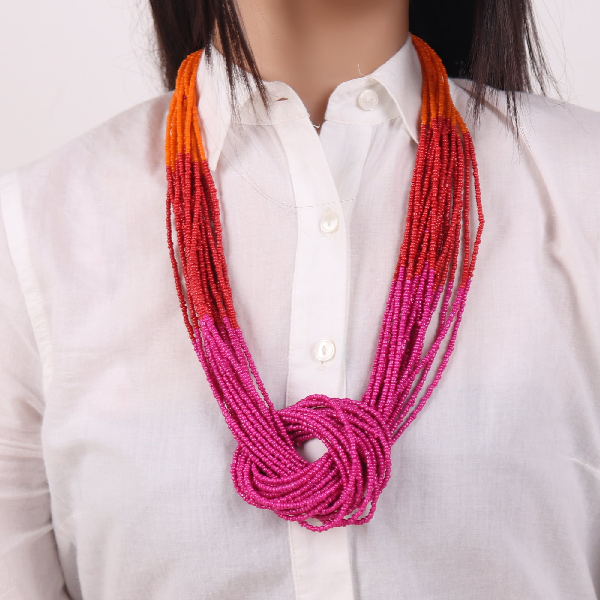 Necklace,Boho Beaded Necklace with three color punch (Pink & Orange) - Cippele Multi Store