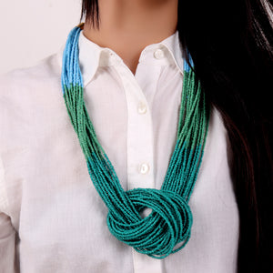 Necklace,Boho Beaded Necklace with three color punch (Green & Blue) - Cippele Multi Store