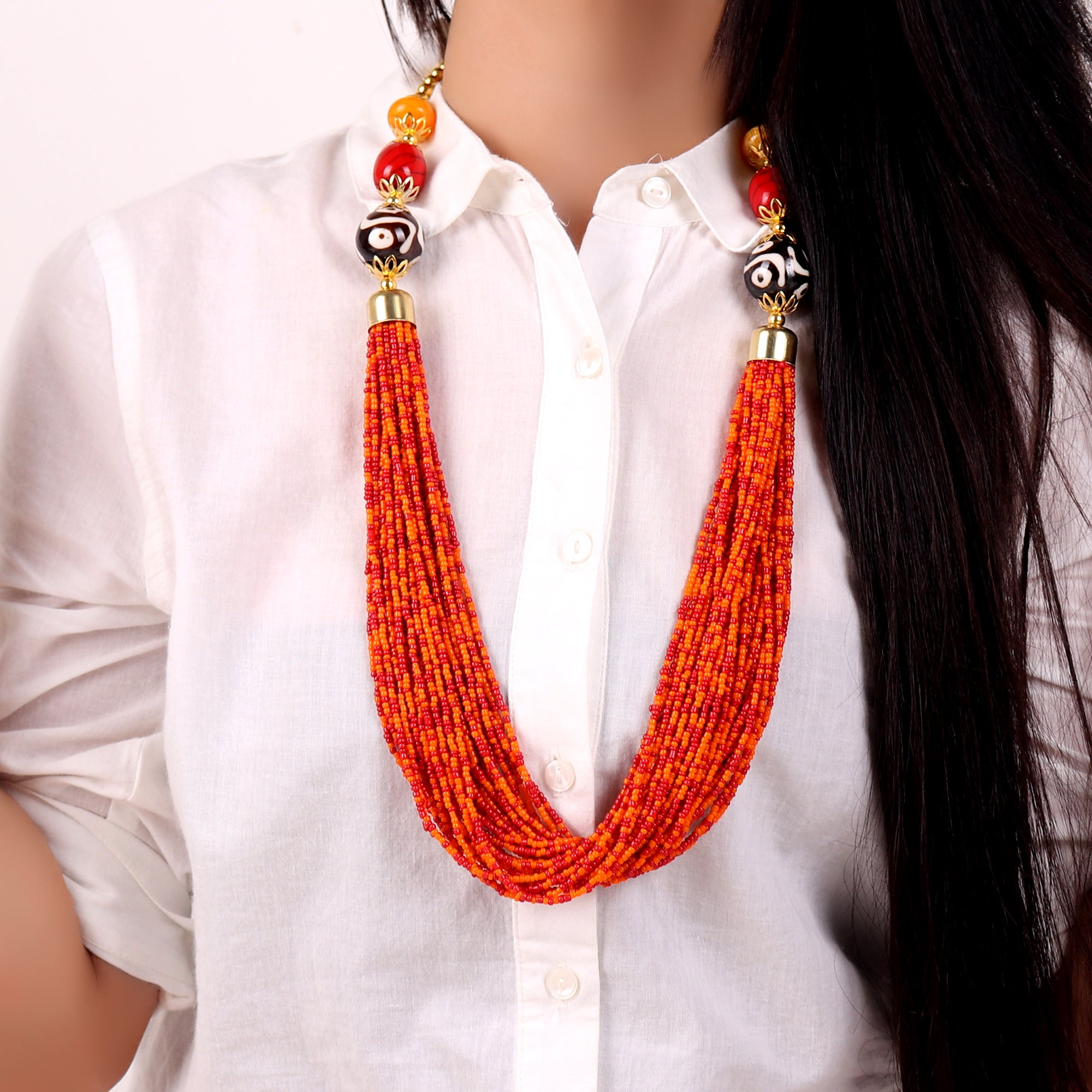 Necklace,Boho Beaded Necklace with Orange beads - Cippele Multi Store