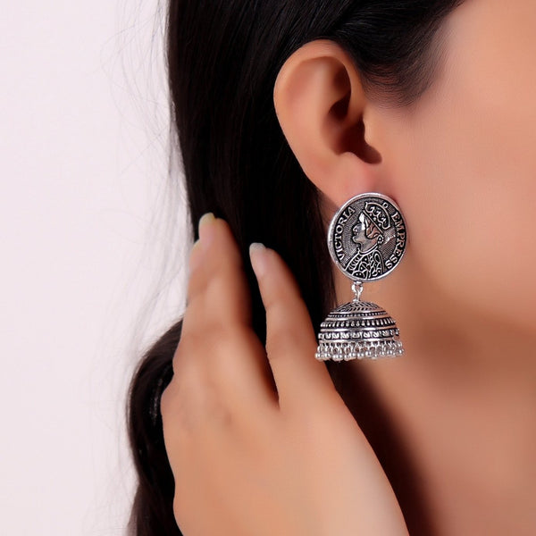 Earrings,Victoria Empress Oxidized Jhumka Style Earrings - Cippele Multi Store