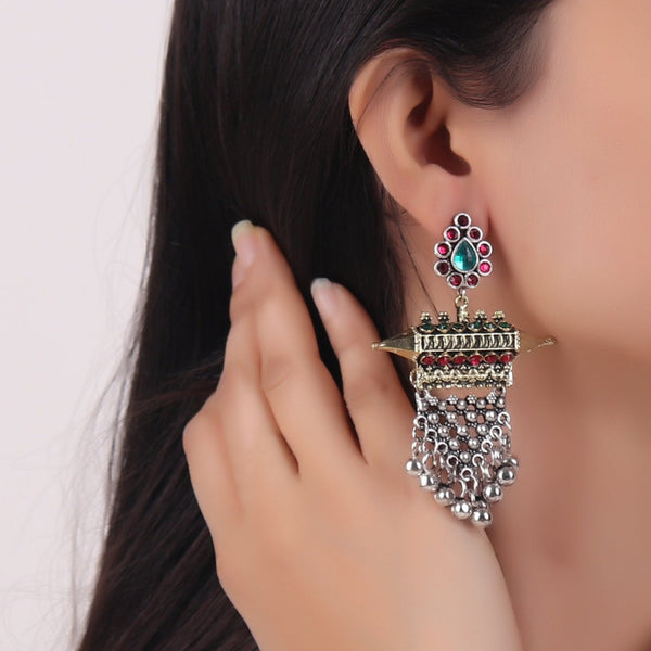 Earrings,Offbeat earrings in Double Tone (with Red and Green Rhinestones) - Cippele Multi Store