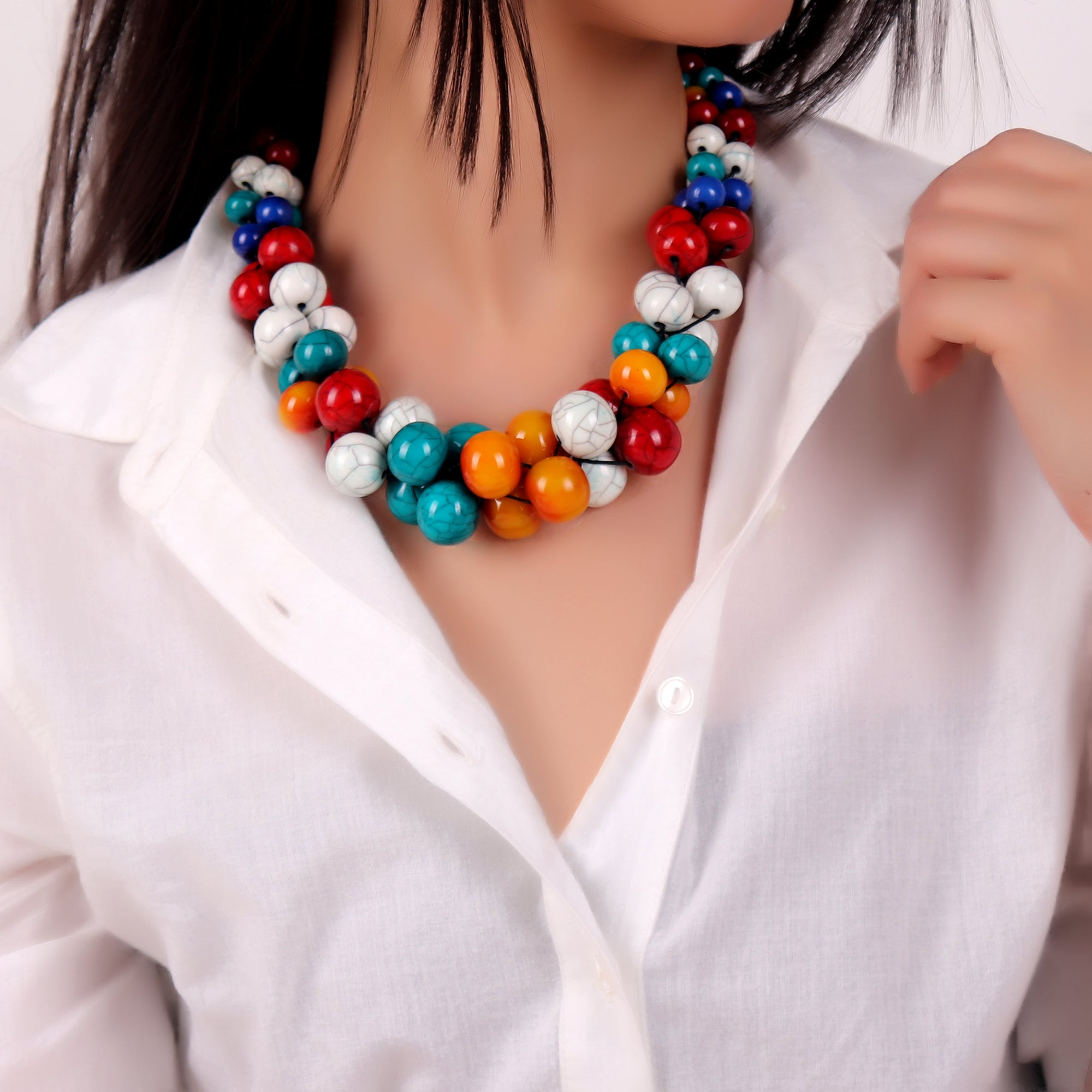 Necklace,Funky Beaded Necklace - Cippele Multi Store