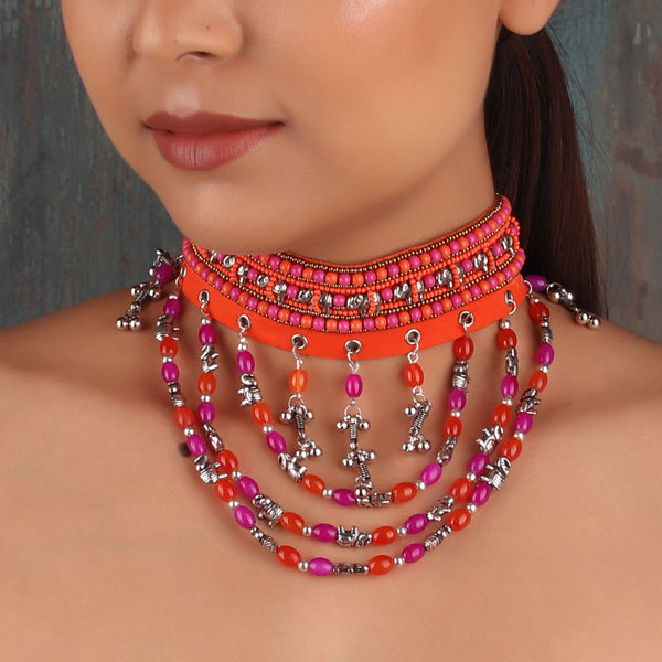 Necklace,The Pink & Orange Pastel Choker - Cippele Multi Store