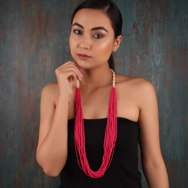 Necklace,The Nucleus Multilayered Beaded Necklace in Pink - Cippele Multi Store