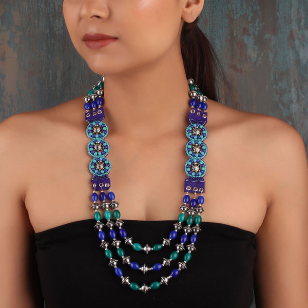 Intriguing Bohemian Necklace in Blue and Green