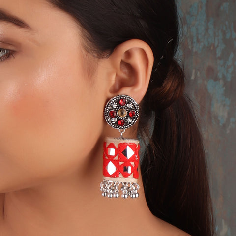 Earrings,The Artwork Earring in Red & Off-White - Cippele Multi Store