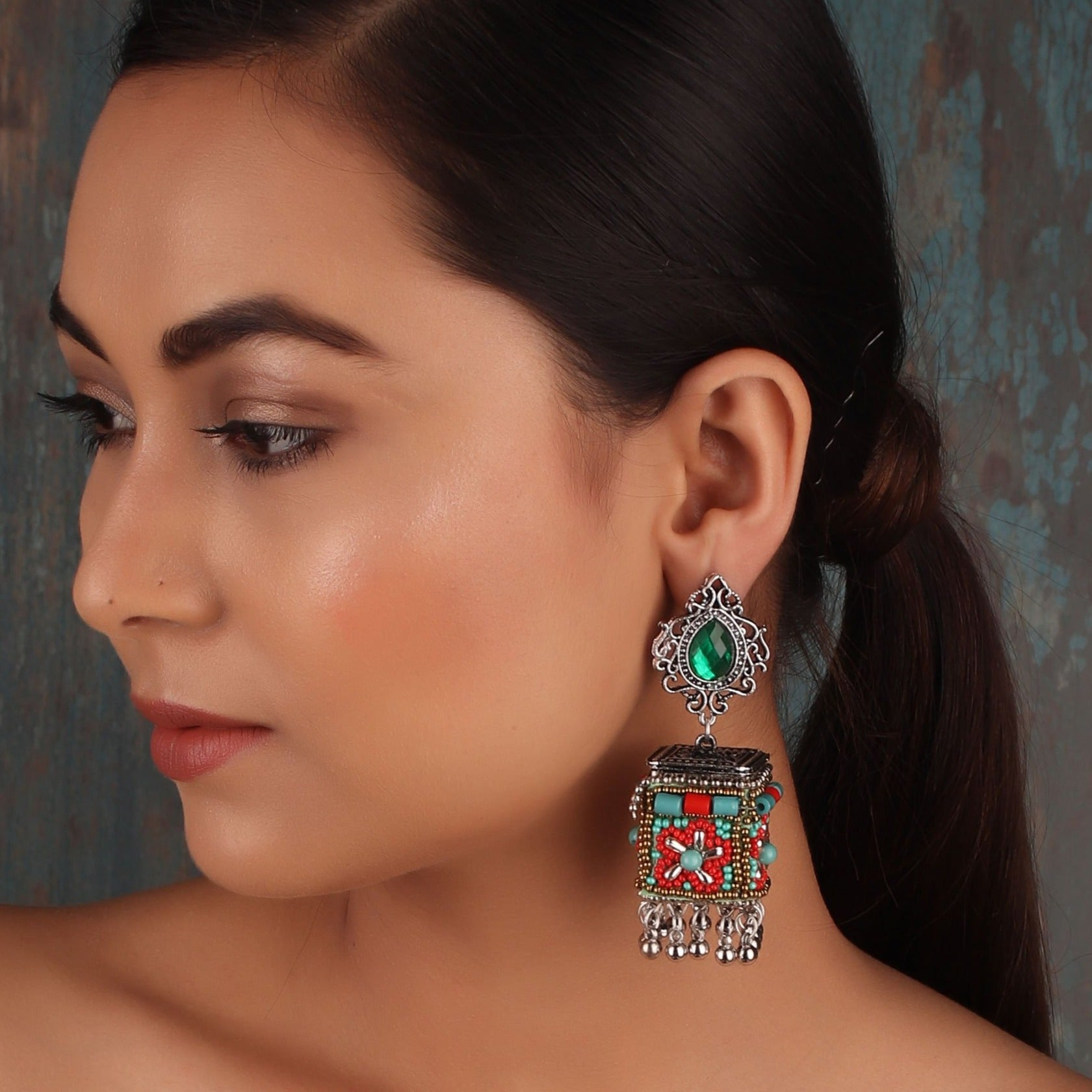 Earrings,The Dazzling Stone Beaded Earring in Red & Green - Cippele Multi Store