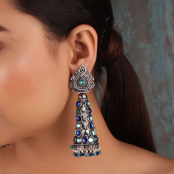 Earrings,The Surreal Treasure Cone Earrings with Blue Stones - Cippele Multi Store