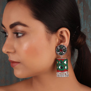 Earrings,The Artwork Earring in Green & Red - Cippele Multi Store